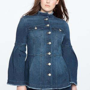 Eloquii Denim Peplum Jacket with Flared Sleeve